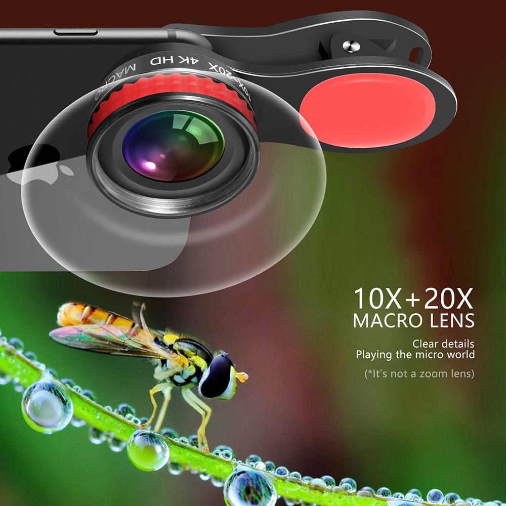 Image 2 - 20X & 10X Супер Макро объектив клип на 4K HD телефон объектив камеры для смартфона iPhone samsung huawei LG Android Мобильный микро мирОбъективы для мобильных телефонов   -