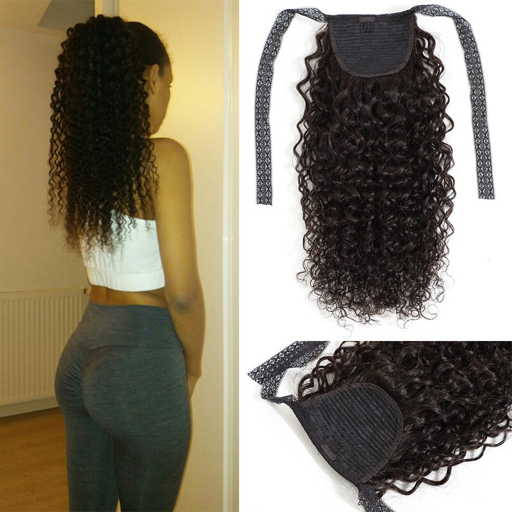 Fashion Plus Ponytail Brazilian Curly Hair Drawstring Ponytail Human Hair Extensions Remy Hair Wrap Around Clip In Pony Tail