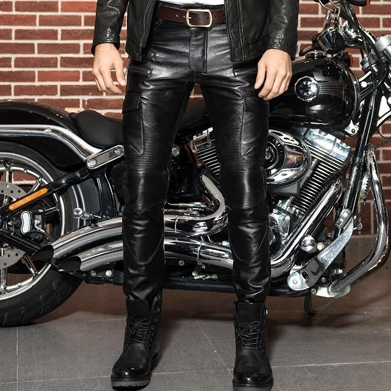 Winter Luxury Men's Leather Real Pants Leather Motorcycle Leather Pants Hot Pants Wind Cut Pants Men's Pants