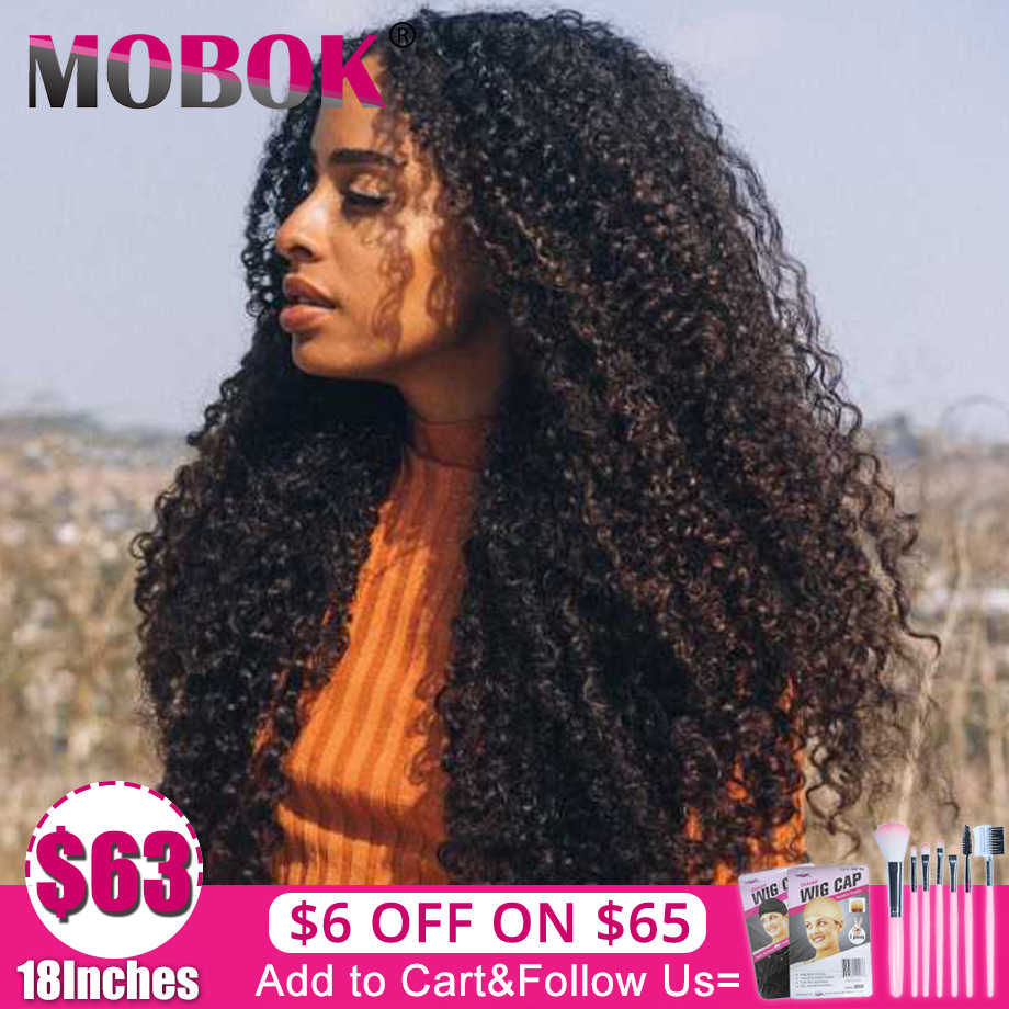 Mobok 4*4 Lace Closure Human Hair Wigs Pre Plucked 150% Brazilian Kinky Curly 13x4 Front Wigs For Women Remy hair Free to Brazil
