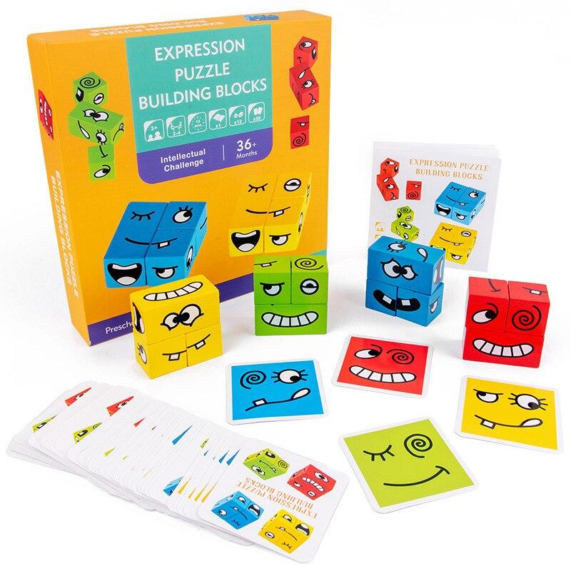 Puzzle de construction d'expression Montessori, en bois, jouet, jouet, bloc de construction, changement de visage, formation de la pensée, jouet d'éducation précoce pour enfants