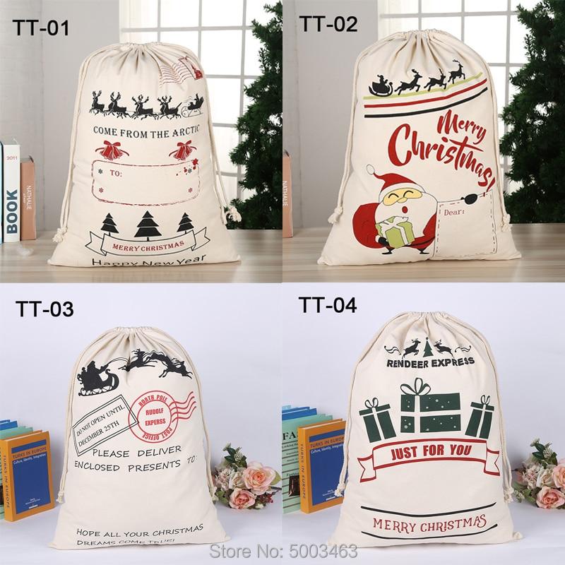 Christmas Bags 20pcs/lot Wholesale Santa Sack Drawstring Party Canvas Bag Santa Claus Kids Bags Christmas Gift Hot Sale