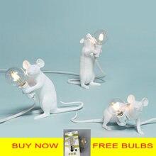 Postmoderna Della Resina Animale Ratto Del Mouse Lampada Da Tavolo Piccolo Mini Mouse Sveglio LED Luci Notturne Complementi Arredo Casa Scrivania Luci Seletti Lampada Da Comodino