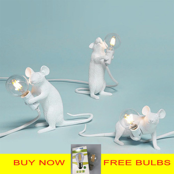 Postmodern Resin Animal Rat Mouse Table Lamp Small Mini Mouse Cute LED Night Lights Home Decor Desk Lights Bedside Lamp
