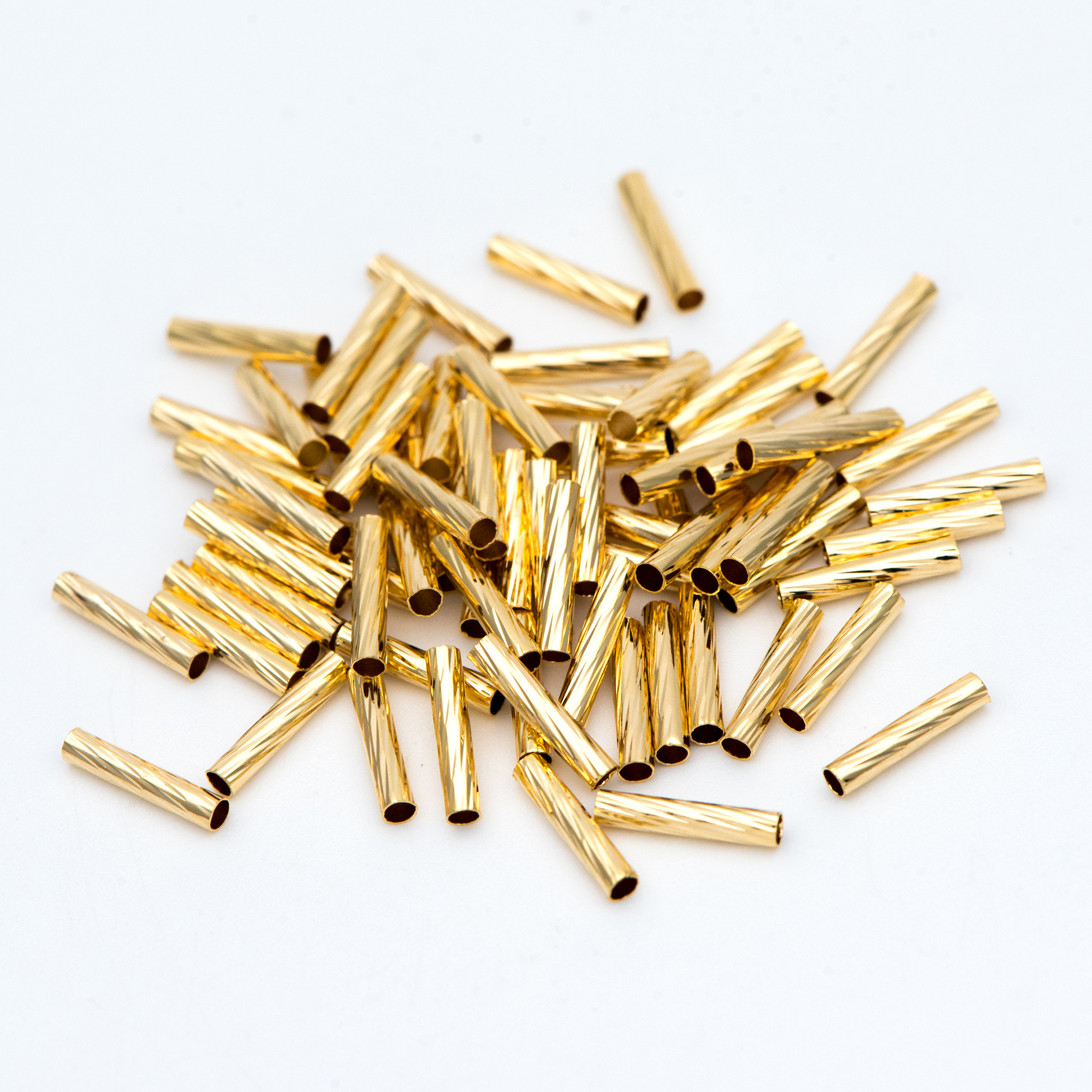 50pcs Gold Straight Tube Beads 10x2mm, Real Gold Plated Brass Tube Spacers (GB-896)