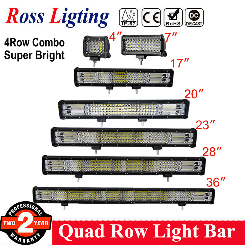 "4Row 4 - 36""Inch LED Work Light Bar 20inch LED Bar for Truck Boat Off Road Lighting 4WD 4x4 tractor ATV Driving Lights 12V 24V"