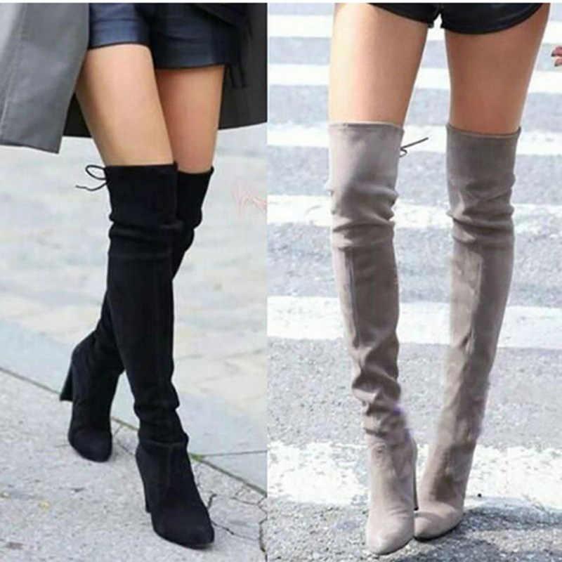 Femmes cuissardes bottes mode daim cuir talons hauts à lacets femme sur le genou bottes grande taille chaussures livraison directe 2019