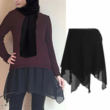 Muslim Fashion Irregular Chiffon Faldas Mujer Moda Abaya Turkey Extended Skirt Shirt Extender Faldas Mujer Femme Jupe Crayon