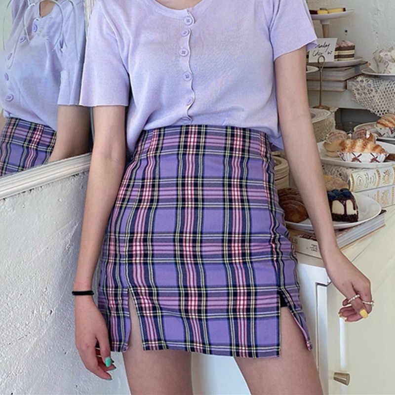 한국어 컬러 격자 무늬 스커트 여성 2020 학생 세련된 짧은 스커트 패션 섹시한 미니 스커트 봄 여름 여성 스커트