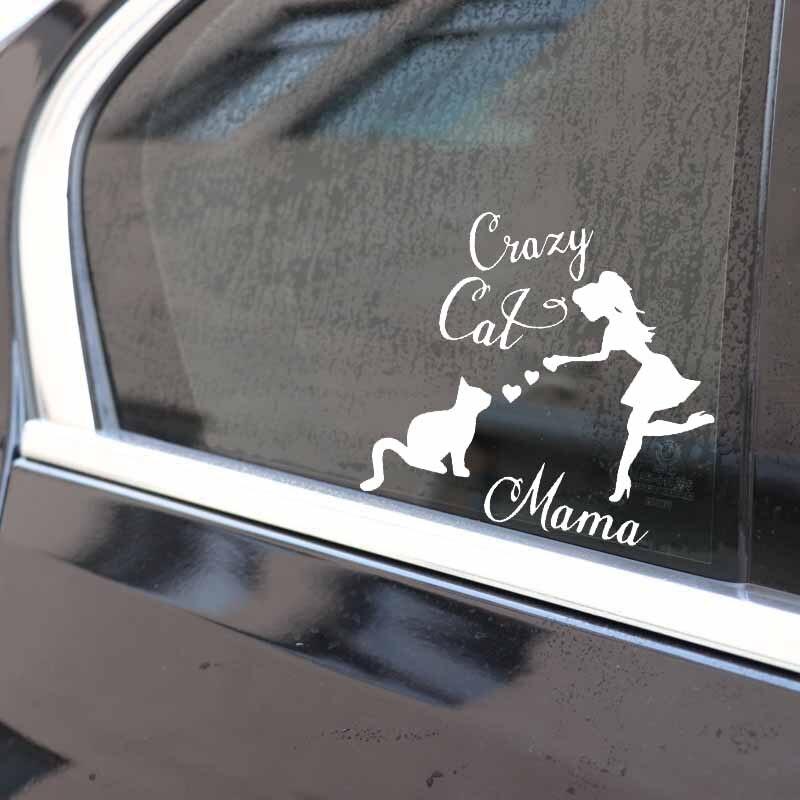 YJZT 15.5X14.4CM Crazy Cat Mama Car Sticker Cat Mom Cat Lady Vinyl Car Window Decal Black/Silver C24-1667