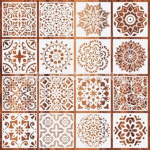 New Amazon cross border Mandala Mandala auxiliary painting template stone wall painting spray pattern ruler