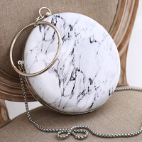 2019 New PU Leather Handbag Ladies Marble Print Wristlet Clutch Evening Bag Wallet Chain Cross Body Party Bags For Women Sleeve