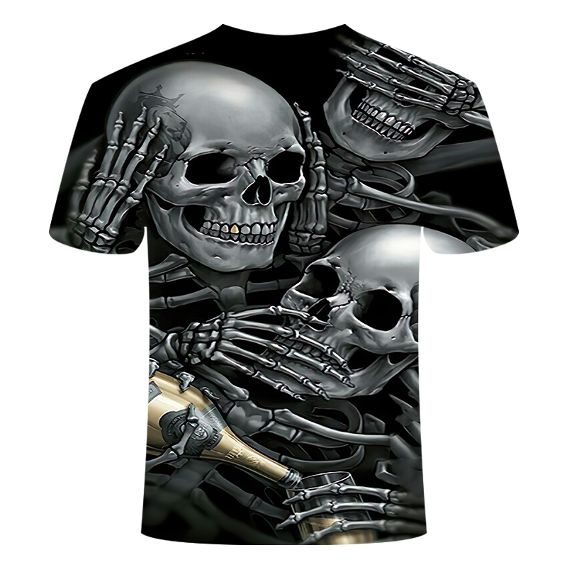 Drop Ship Summer NewFunny skull 3d T Shirt Summer Hipster Short Sleeve Tee Tops Men/Women Anime T-Shirts Homme Short sleeve tops 5