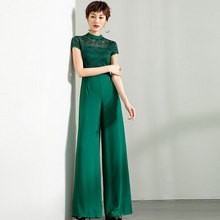 2020 Formal Party Jumpsuit for Women Summer Chiffon Elegant Full Length Rompers Green Lace Jumpsuits Plus Size 3XL 4XL 2019 women summer jumpsuit party overalls rompers chiffon high street elegant gray color full length jumpsuits plus size 3xl 4xl