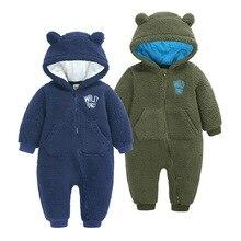 Baby Romper One-Piece Fleece Zipper Newborn Winter Unisex 0-18M Solid Roupas-De-Beb
