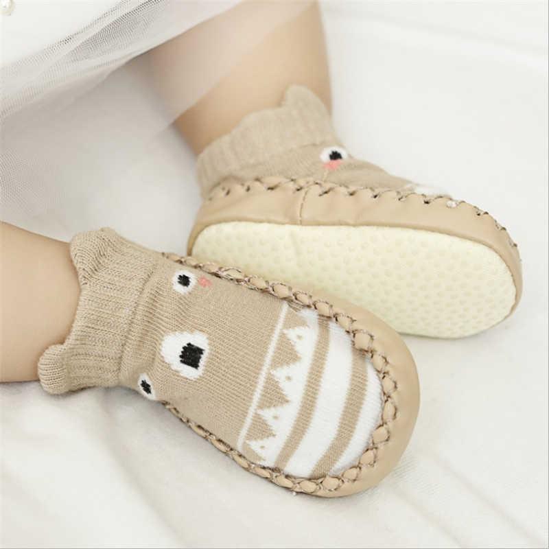 Модные детские носочки с резиновой подошвой; носки для новорожденных; сезон осень-зима; детские носки-тапочки; нескользящие носки с мягкой подошвой