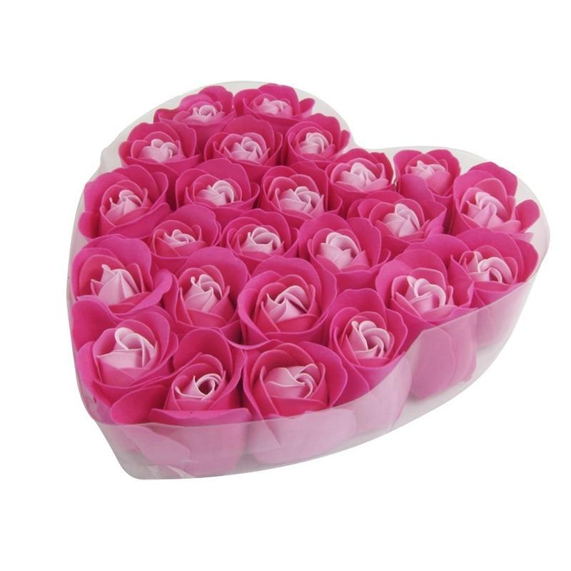 24 Pcs Red Rose Scented Bath Soap Rose Petal In Heart Box