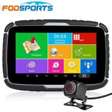 Fodsports 5.0 inç motosiklet GPS navigasyon ücretsiz harita Android sistemi 6.0 WIFI Bluetooth Moto Navigator araba kaydedici DVR kamera