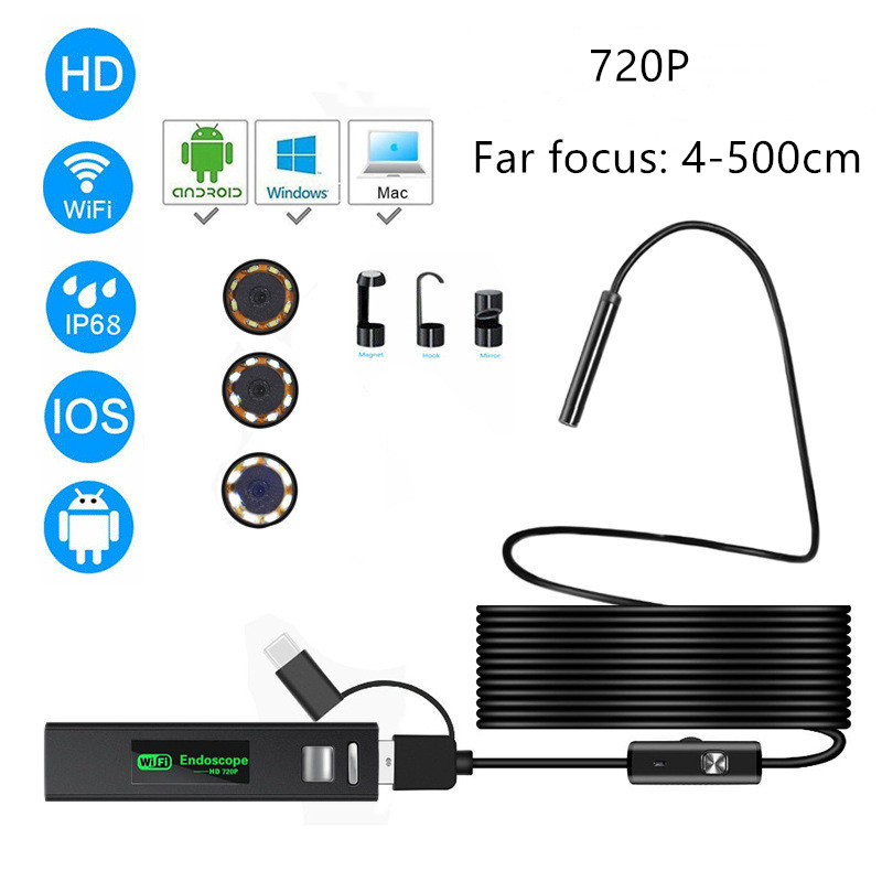 Wifi Flexible Endoscope Camera Ip68 Inspection Camera Wireless 3 In 1 Far Focus Borescope For Android Phone Type C Smartphone