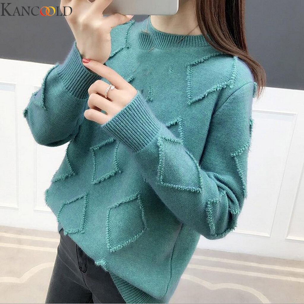KANCOOLD Women Thick Knitted Swearts Purple Striped O Neck Long Sleeve Loose Pullovers High Quality Streetwear Winter Fashion
