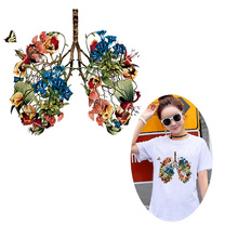 Flower Lung Iron-On Transfers For Clothing Stickers Heat Transfer Vinyl Patch Stripe Patches on Clothes Butterfly Appliques DIY zotoone printed drink beer heat transfers vinyl ironing clothes stickers iron on patches for clothing diy cocktail appliques e