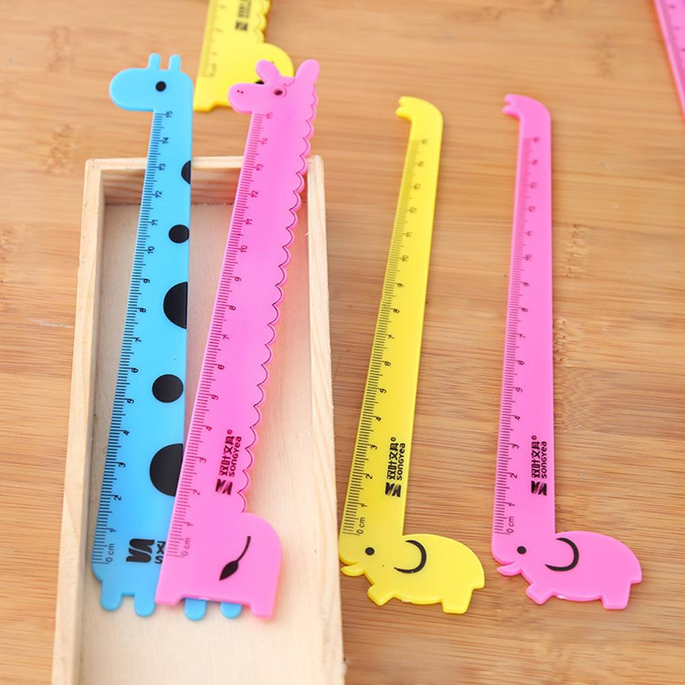 1 PC Student School Supplies Children Cute Animal Cartoon Giraffe Plastic Straight Ruler