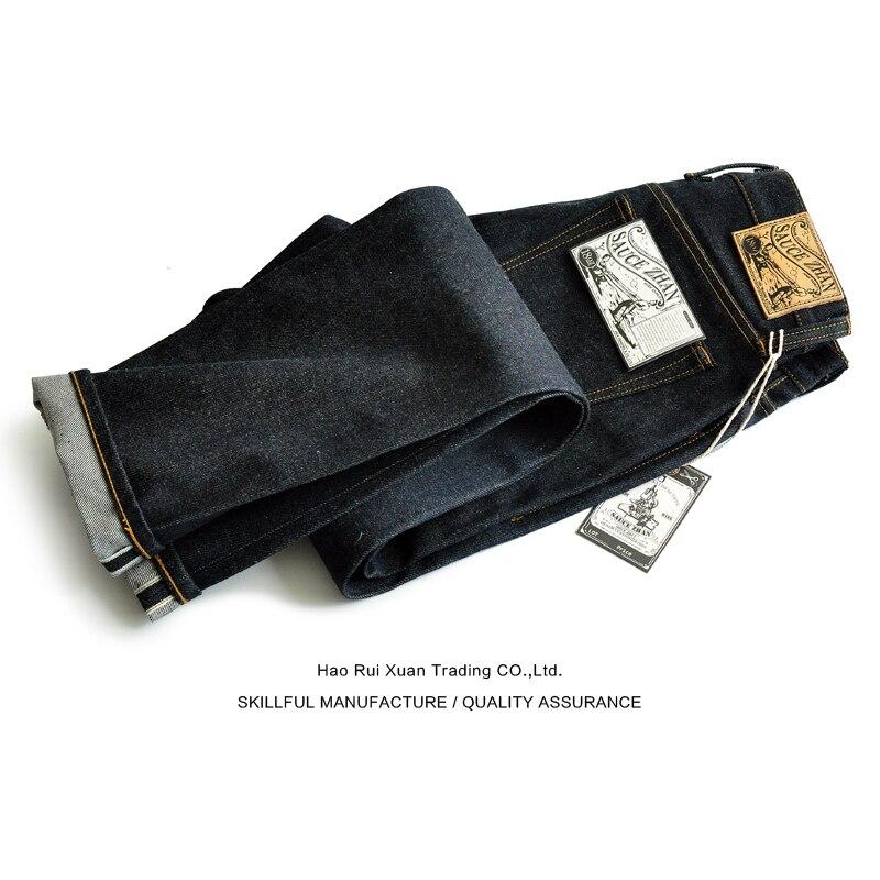 SauceZhan 315XX-18OZ Для мужчин джинсы для Для мужчин с коническим отверстием подходит джинсовый кромки необработанные джинсы синие джинсы толщиной...