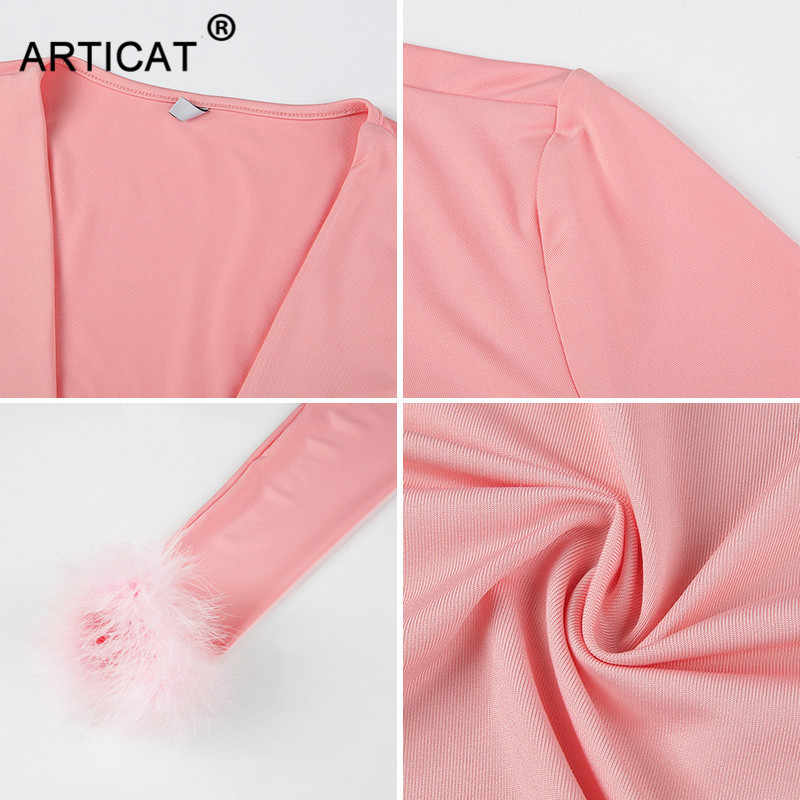 Articat セクシーな包帯パーティークロップトップ女性 Tシャツピンクディープ V ネック毛深いパッチワーク tシャツ 2020 秋冬スリムクリスマス Tシャツ