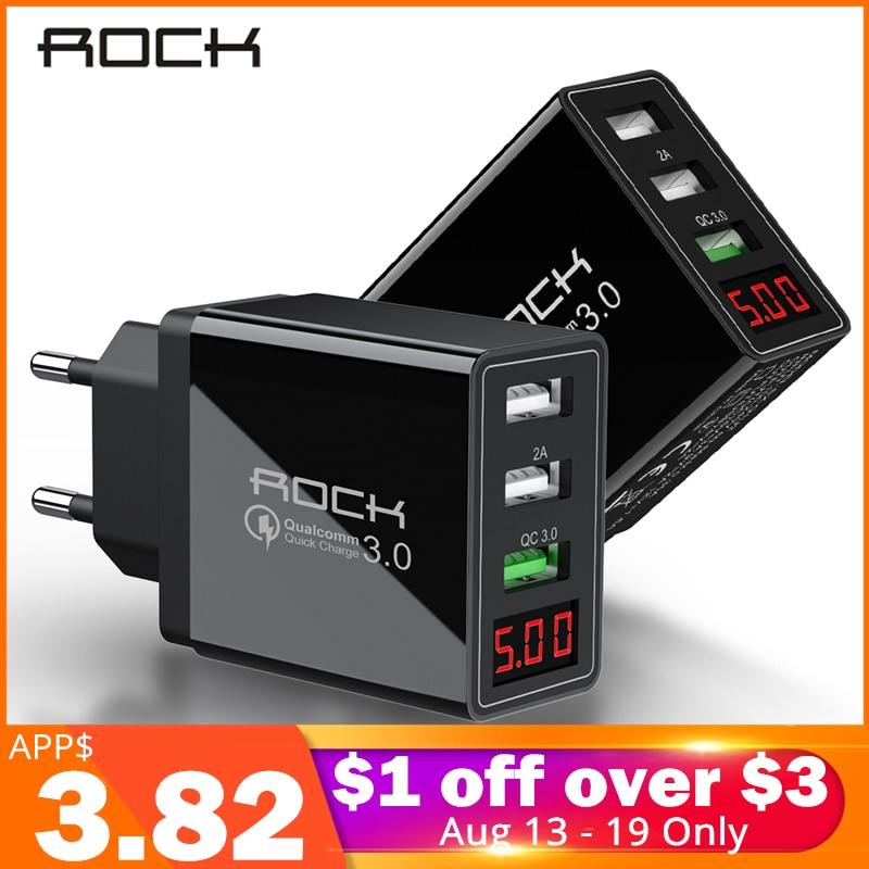 ROCHA LEVOU Exibição QC 3.0 3A 3 Carregador de Telefone USB de Carregamento Rápido Para iPhone Xiaomi Huawei P30 Pro Rápido Samsung EU Adaptador De Parede Turbo