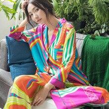 Kadınlar için bir kez ipek pijama bahar kore moda pijama artı boyutu hırka uzun kollu Set 2 parça seksi saten pijama