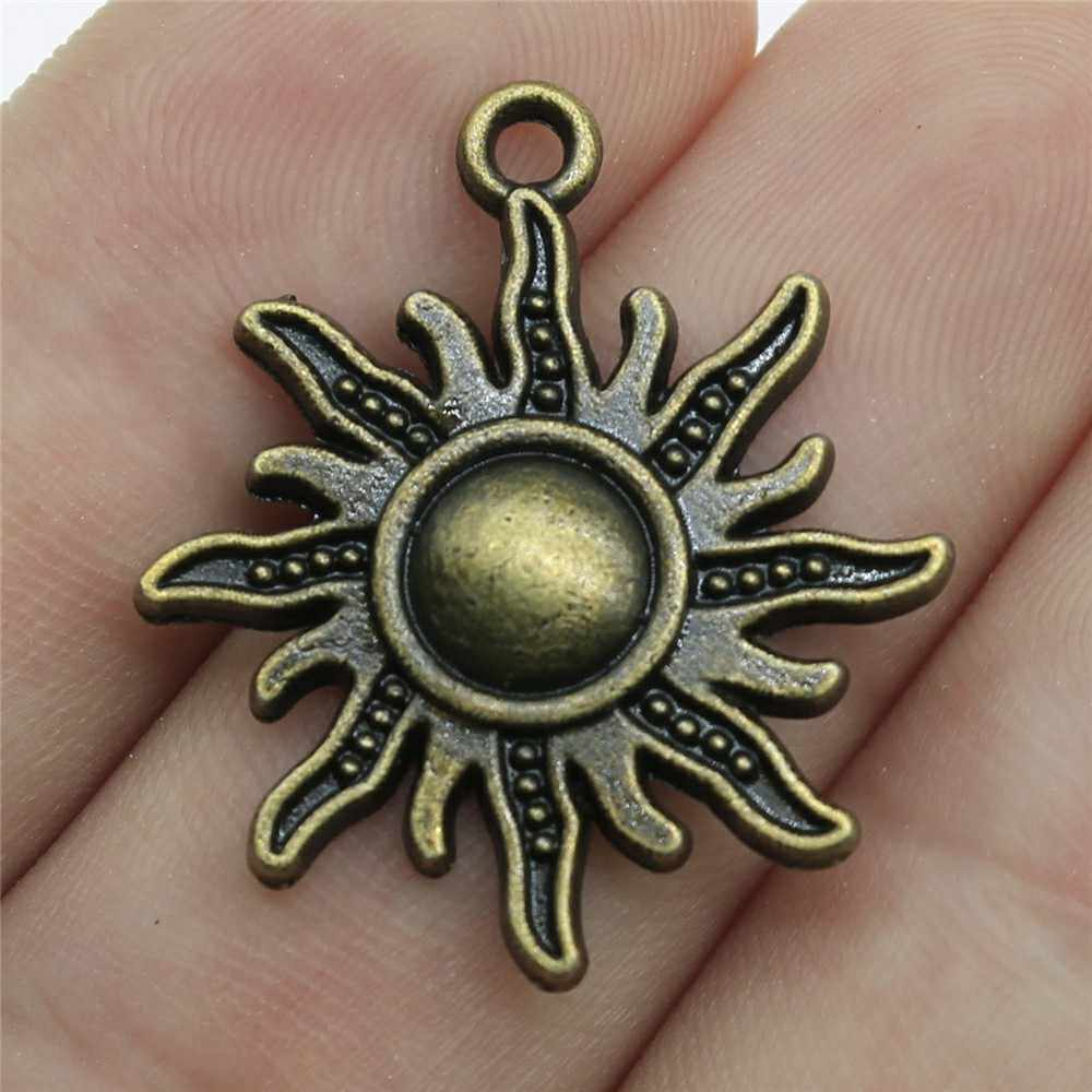 Free Ship 10Pcs Antique Silver Sun Moon Charms Pendant Jewelry Findings 27x20mm