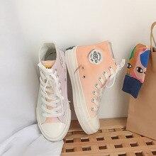 Fashion Color Change Rainbow Platform High Women Canvas Shoes