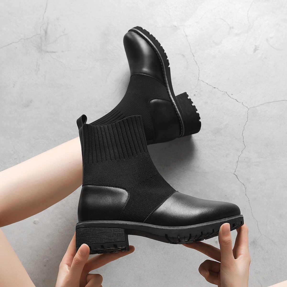 2020 kadın çorap çizmeler sonbahar kış su geçirmez botlar kadın streç ince botları Botin Mujer büyük boy temizleme 942349