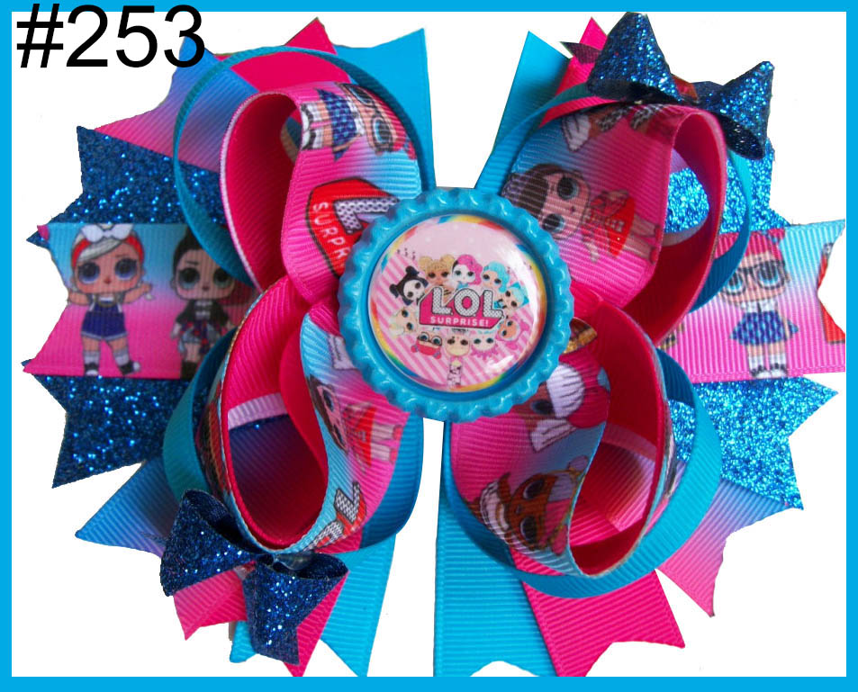 Free Shipping 2017 Newest 24pcs 5.5'' Inspired Hair Bows Popular Character Hair Bow With Lined Clips Bouqiue Girl Hair Bows A