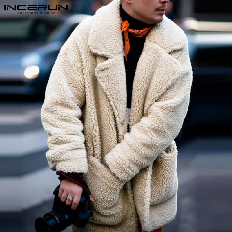 INCERUN Fashion Faux Fleece Men Coats Solid Outerwear Plush Pockets 2019 Long Sleeve Fluffy Overcoat Streetwear Men Trench 5XL
