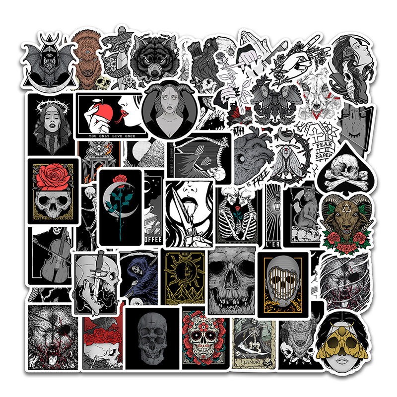 50PCS Horror And Thriller Square Style Gothic Wind For Luggage Motorcycle Laptop Refrigerator Case Helmet Toy Decals Stickers F5