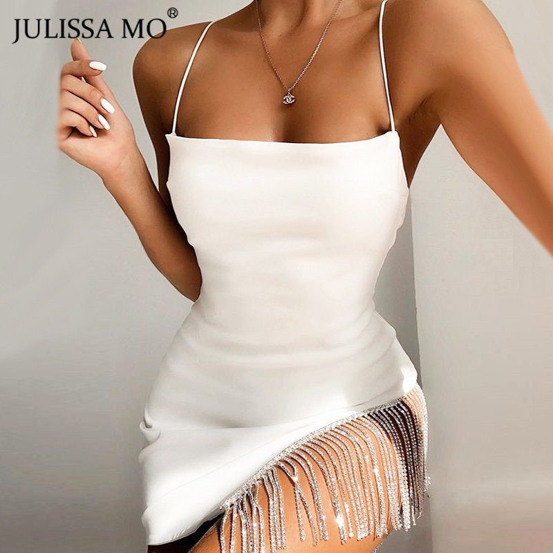 JULISSA MO 2019 New Shiny Diamonds Party Dress Women Sexy Spaghetti Straps Bodycon Dress Fashion Tassel Hem Mini Dresses White