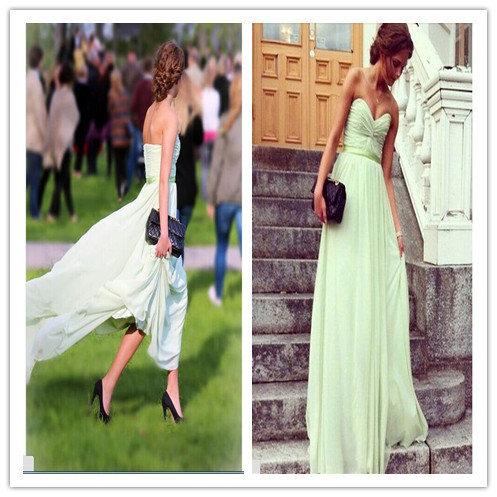 Mint Green Strapless Long Bridesmaid Dresses Charming Chiffon Bridesmaid Gowns 2015 Wedding Party Dress