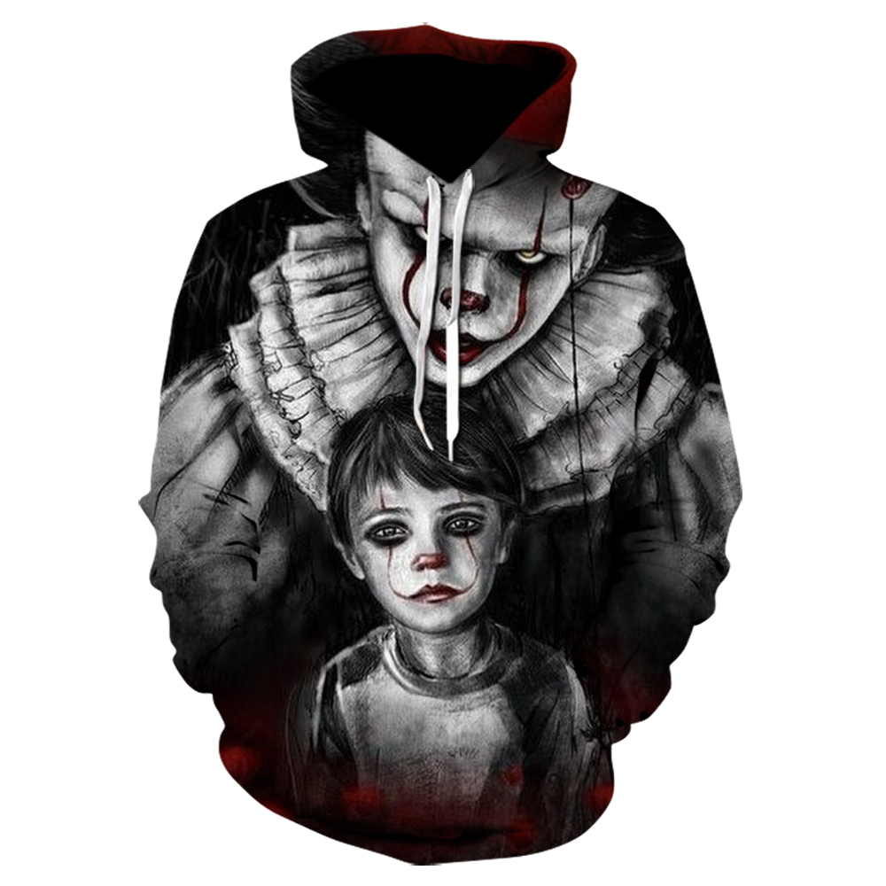 Winter Harajuku New Horror Movie IT Clown 3D Hoodie High Quality Design Funny Casual Sweatshirt Clown Pattern Hoodies Tops