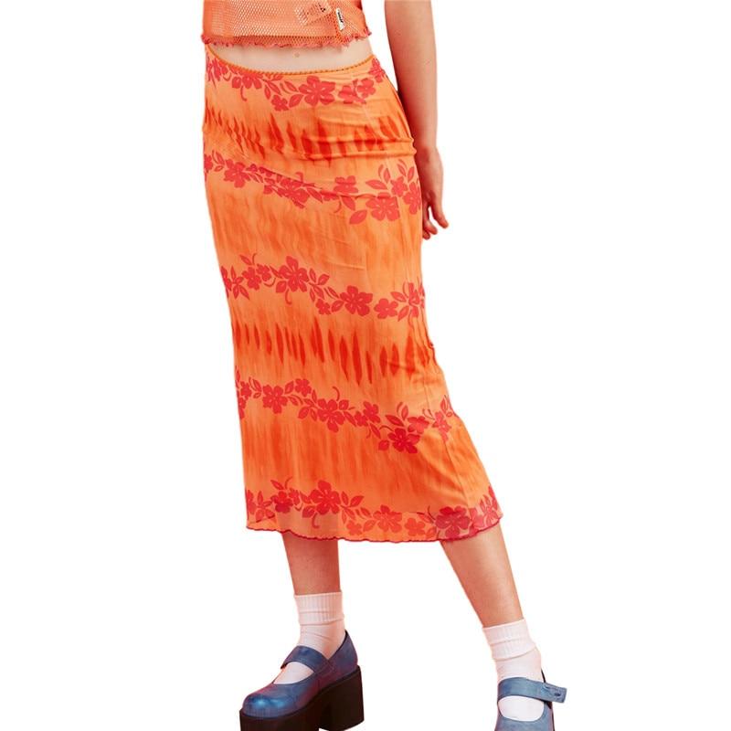 Moda estate donna Boho Beach gonne stile Casual donna vita alta stampa floreale gonna longuette arancione abbigliamento per feste 1