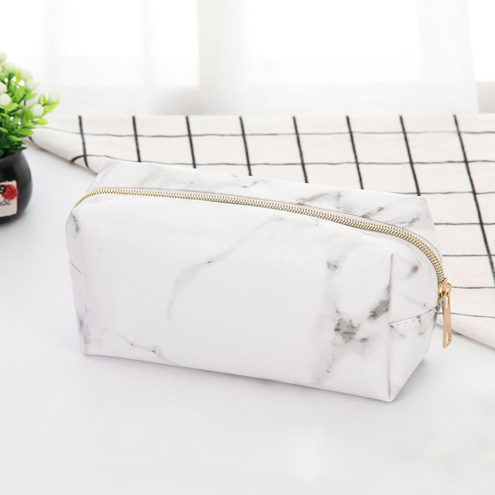 Large Capacity Marble Travel Cosmetic Storage Pouch Faux Leather Makeup Bag