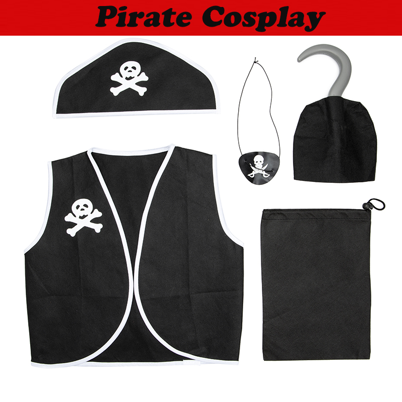 Interesting 5pcs Kids Pirate Cosplay For Stage Performances Holiday Dress Up Pirate Role Playing Costumes Black One Size