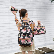 Floral Women Backpack High Capacity Female Students Back Pack Schoolbag For teenager Girls Cute Knapsack small tote Purse 3 pcs(China)