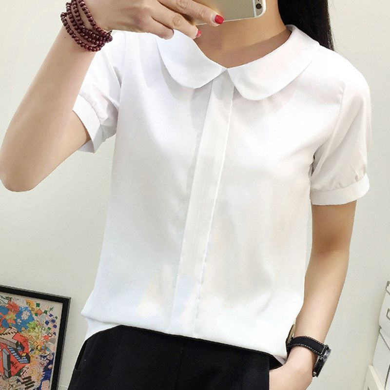 Women Casual Spring Summer Sweet Chiffon Shirts Short Sleeve Round Collar Solid Color White Shirts