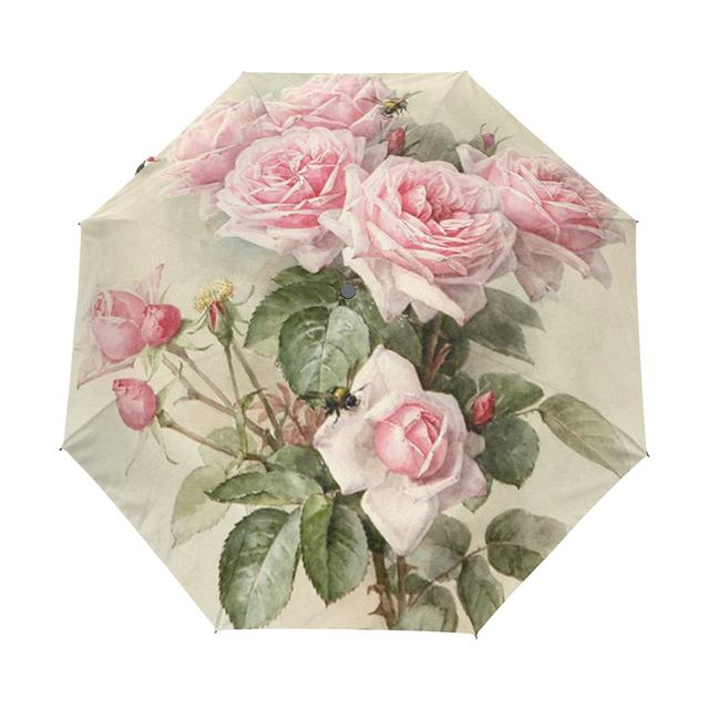 Vintage Shabby Floral Women Rain Umbrella Chic Pink Rose Three Folding Girl Durable Portable Umbrellas Automatic Rain Gear 2