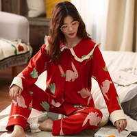 Pajama Sets Woman Long Sleeve Spring Autumn Cotton Cardigan Cartoon Large Size Thin Autumn Winter Cotton Home Wear Two Sets