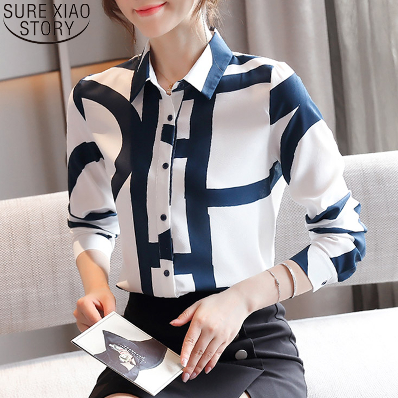 Fashion Office Lady Cardigan Print Blouses Chiffon Shirts Women Korean Loose Long Sleeve Shirts 2021 Autumn Women Blusas 10789 2