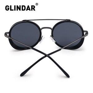 Image 3 - Retro Teampunk Round Sunglasses for Women Men Double Bridge Metal Frame Sun Glasses
