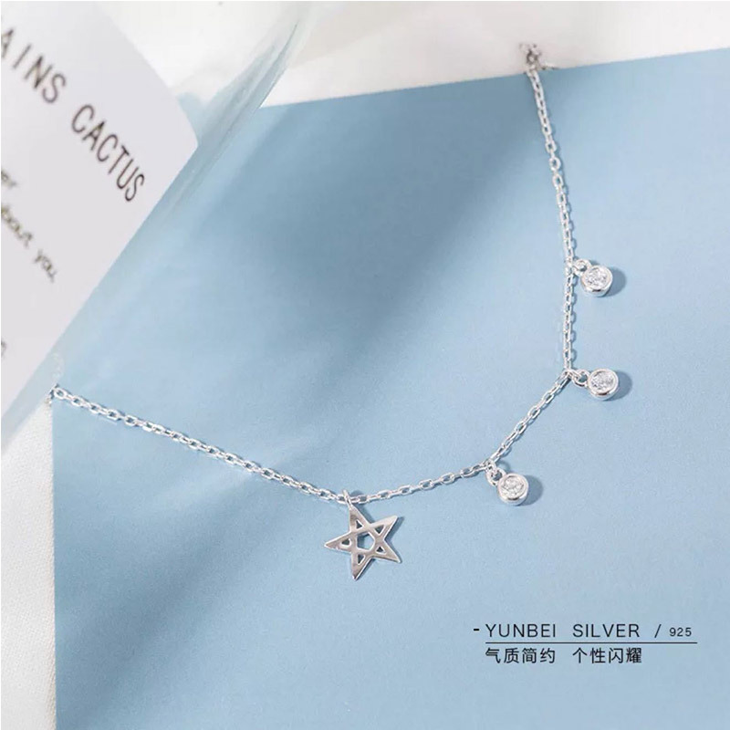 925 Sterling Silver Star Choker Women Simple Round Bead Short Necklace Fashion Women Jewelry Cute Birthday Gift Wedding