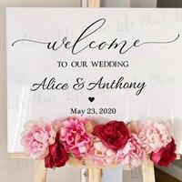 Letrero de bienvenida para boda, pegatina de vinilo personalizada para cualquier texto, etiquetas de tabla, aniversario, compromiso, fiesta, espejo, murales de vinilo